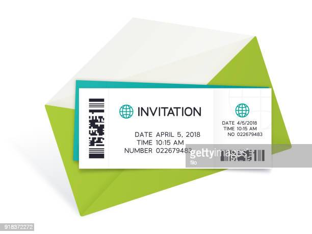two tickets with envelope - ticket stock illustrations, clip art, cartoons, & icons