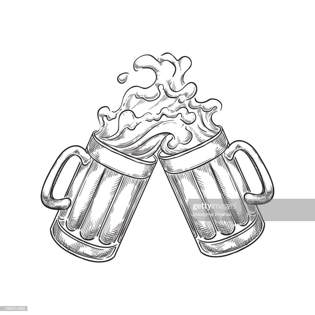 Two toasting beer mugs with splash drinks, sketch vector illustration. Hand drawn label design elements