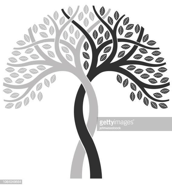 two tone mono tree illustration - tree trunk stock illustrations, clip art, cartoons, & icons