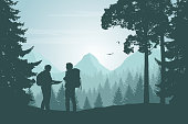 Two tourists walking through a mountain landscape with a forest looking for a path in the map under a morning sky with dawn - vector