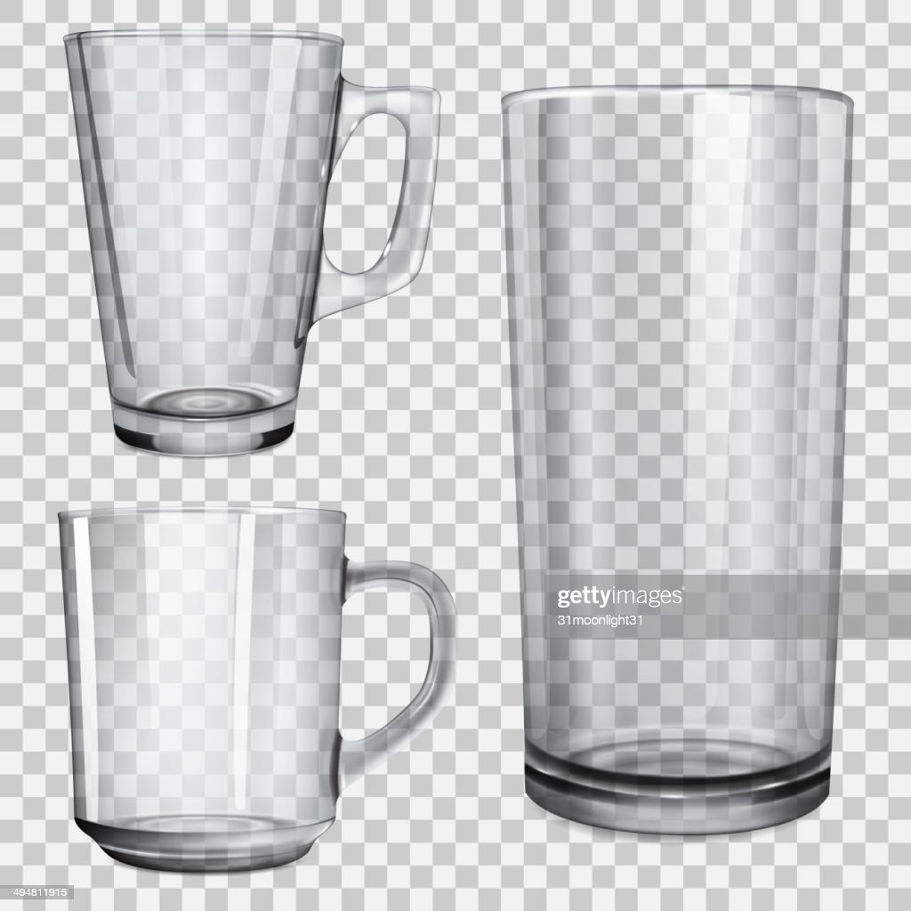 Two transparent cups and one glass for juice