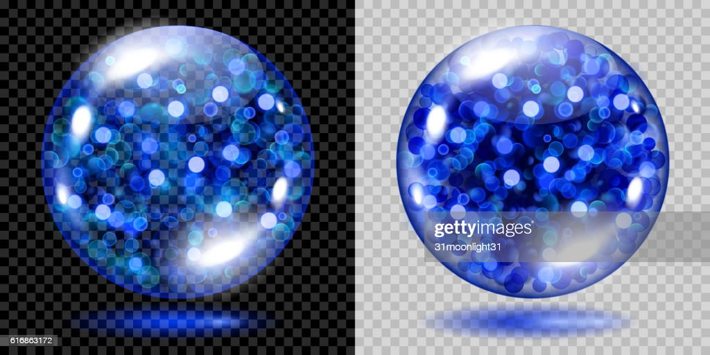 Two transparent spheres with blue sparkles : Vector Art