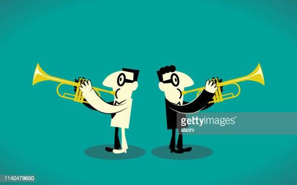 two trumpet player - salesman stock illustrations