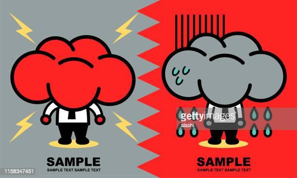 illustrazioni stock, clip art, cartoni animati e icone di tendenza di two unique businessmen with storm cloud head (getting angry and depression) - cielo minaccioso