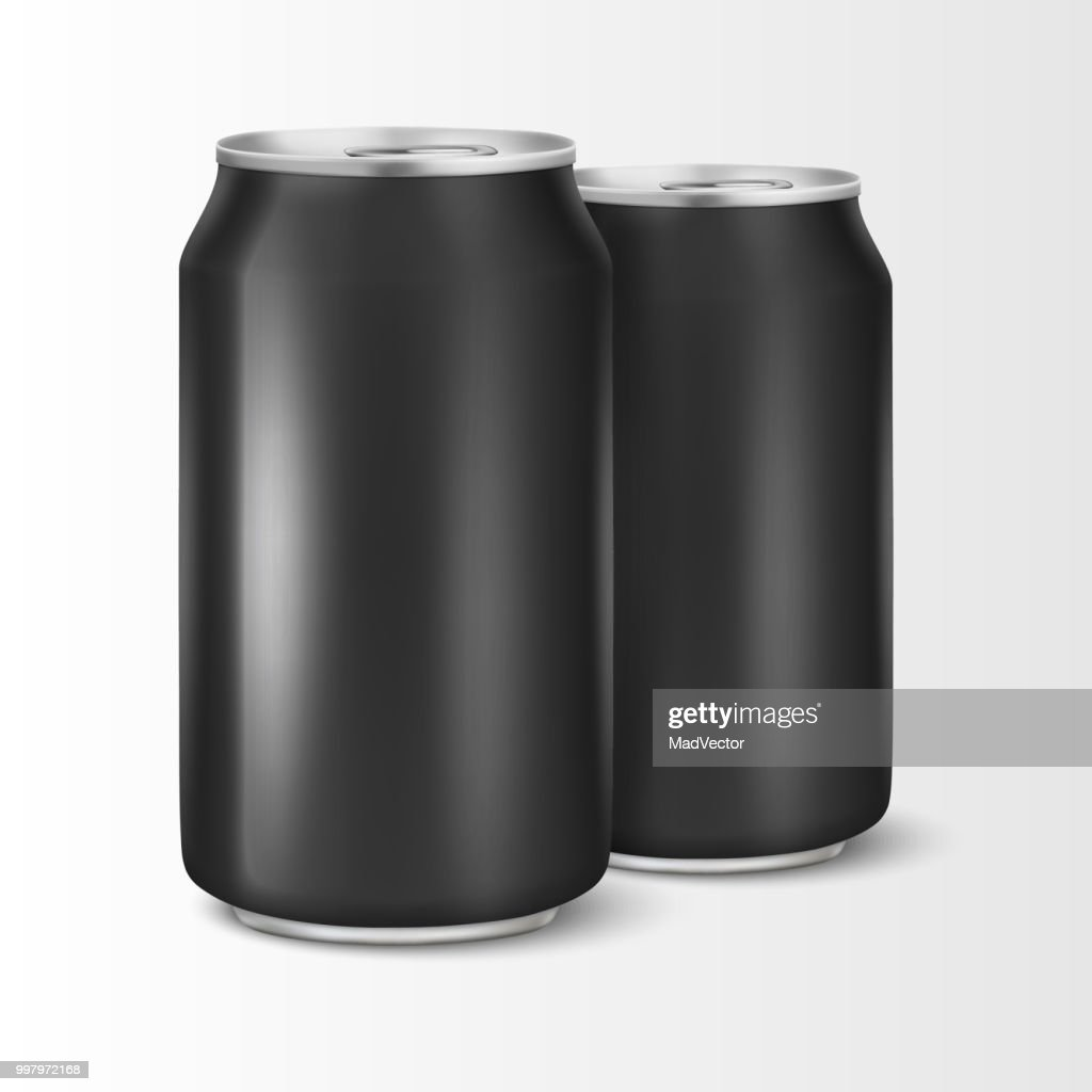 Two Vector realistic 3d empty glossy metal black aluminium beer pack or can visual 330ml. Can be used for lager, alcohol, soft drink, soda, fizzy pop, lemonade, cola, energy drink, juice, water etc. Closeup isolated on white background. Design template of