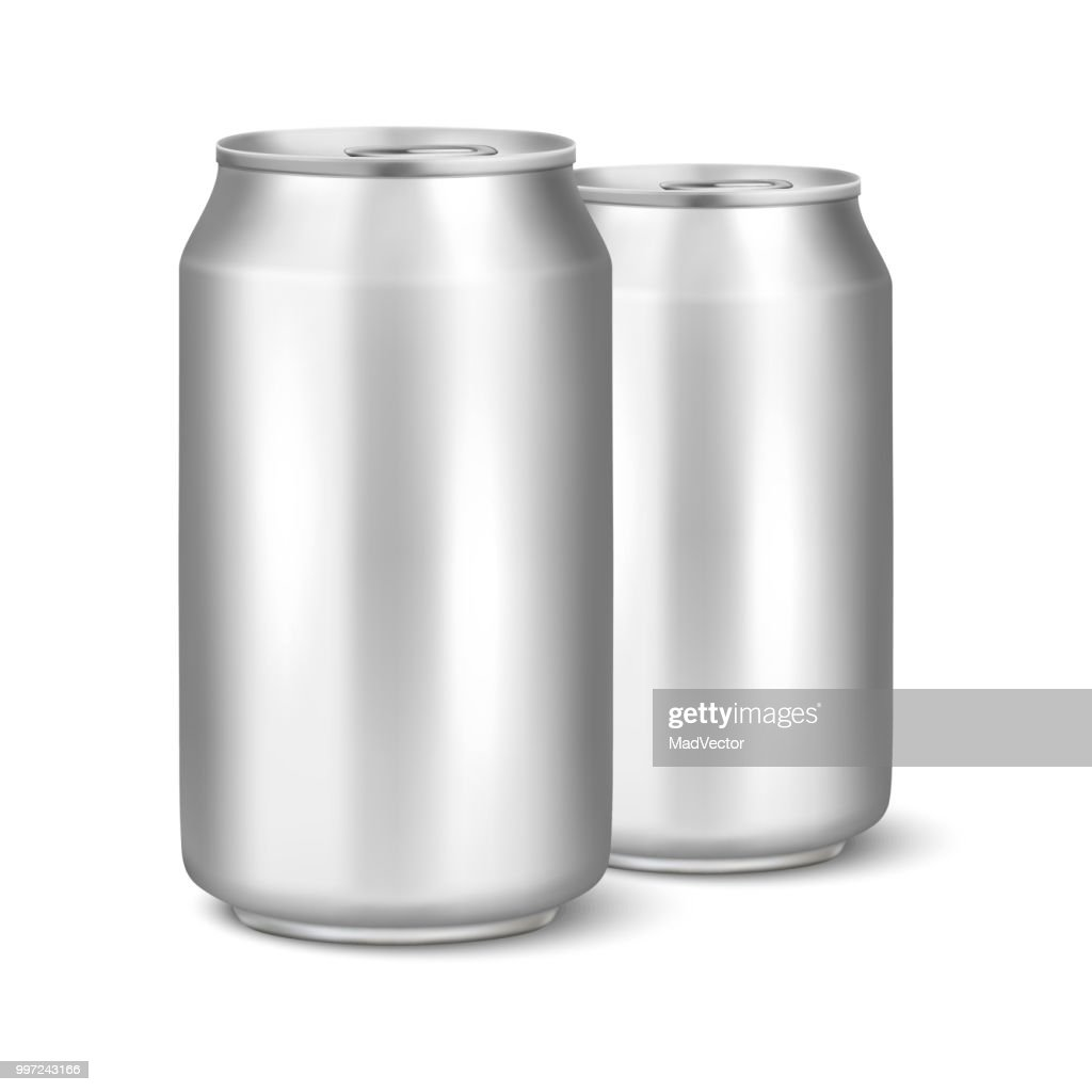 Two Vector realistic 3d empty glossy metal silver aluminium beer pack or can visual 330ml. Can be used for lager, alcohol, soft drink, soda, fizzy pop, lemonade, cola, energy drink, juice, water etc. Closeup isolated on white background. Design template