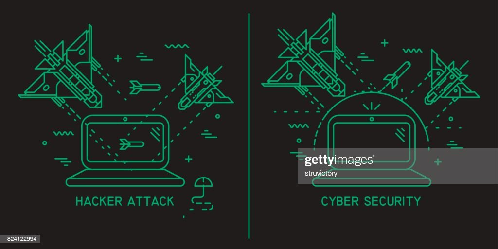 Two vector thin line illustrations on the theme of hacker attack, hacking, cyber security.
