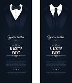 Two vertical Black Tie Event Invitations.