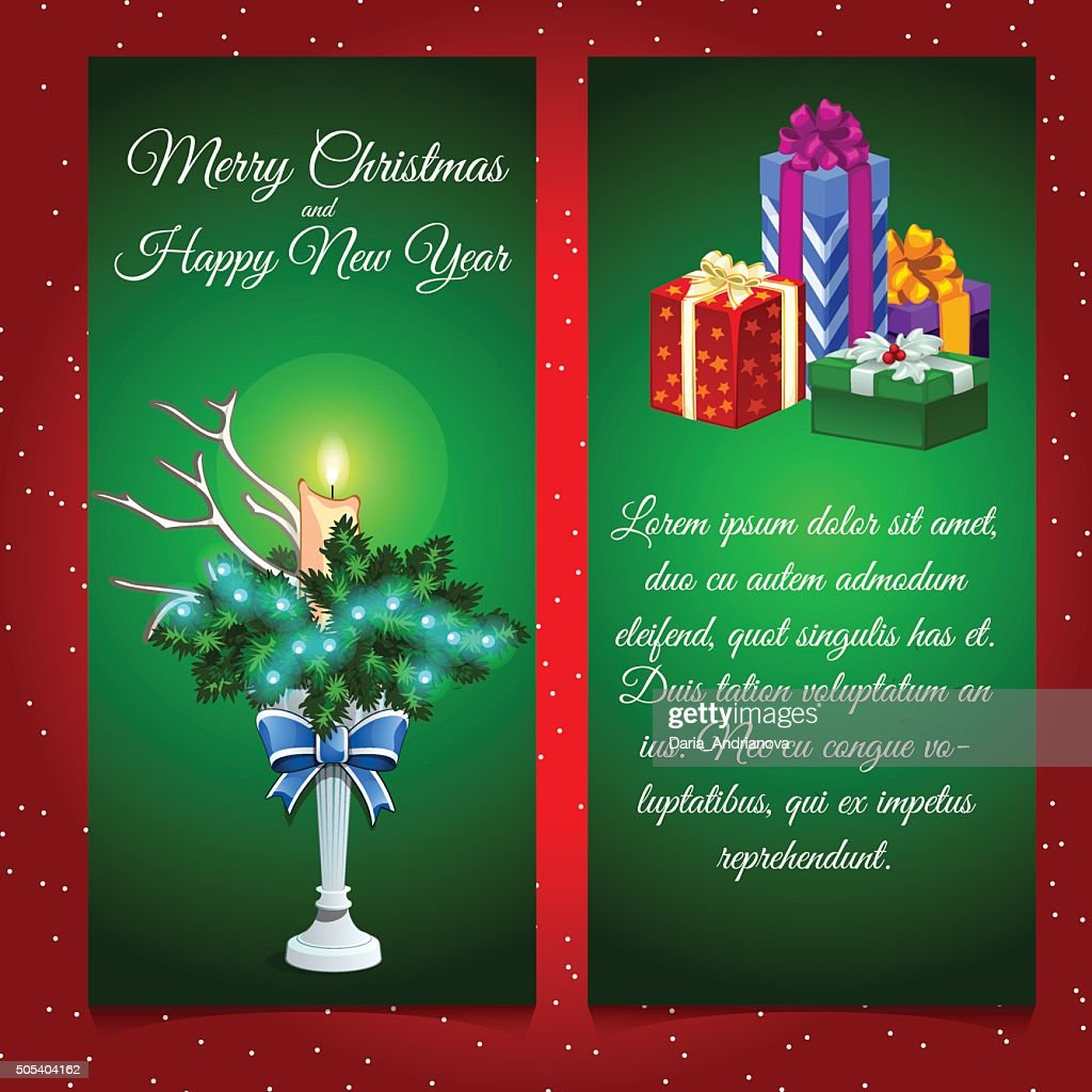 Two vertical cards with Christmas decoration