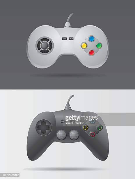 two video game controllers in black and white - joystick stock illustrations, clip art, cartoons, & icons