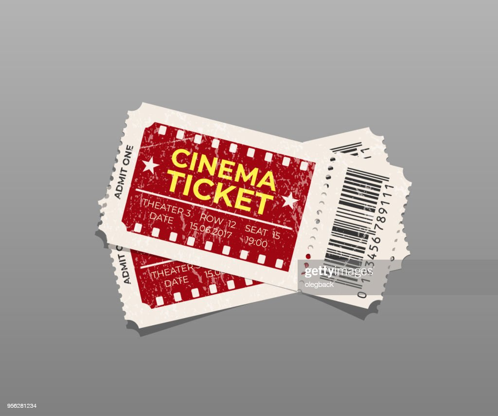 Two vintage cinema tickets isolated on gray background. Vector design element.