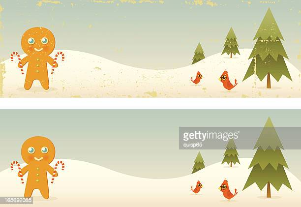 two vintage gingerbread man banners - gingerbread man stock illustrations
