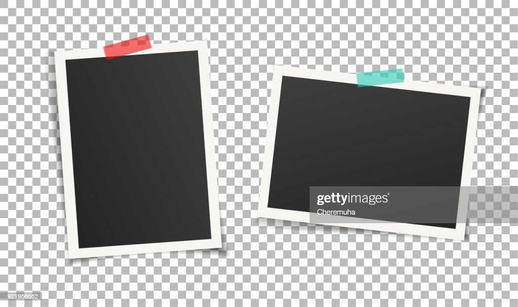 Two vintage photo frames with adhesive tape on transparent background.