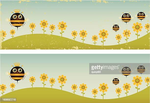 2 つのヴィンテージの queen bee バナー - queen bee点のイラスト素材/クリップアート素材/マンガ素材/アイコン素材