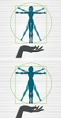 Two Vitruvian woman icons with hands