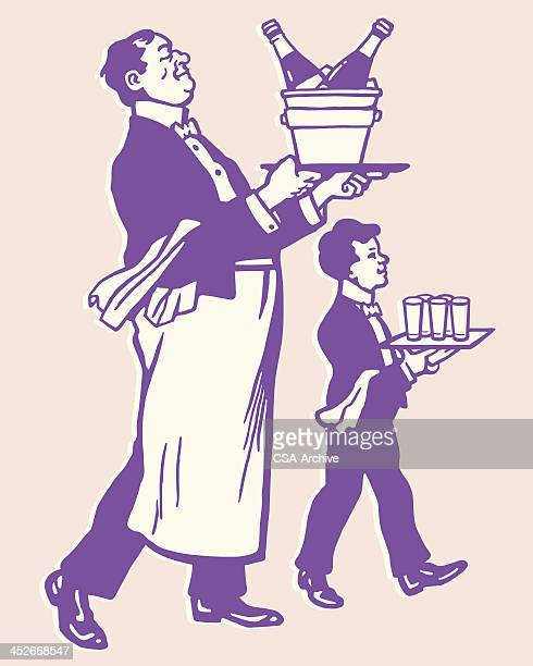 two waiters - butler stock illustrations, clip art, cartoons, & icons