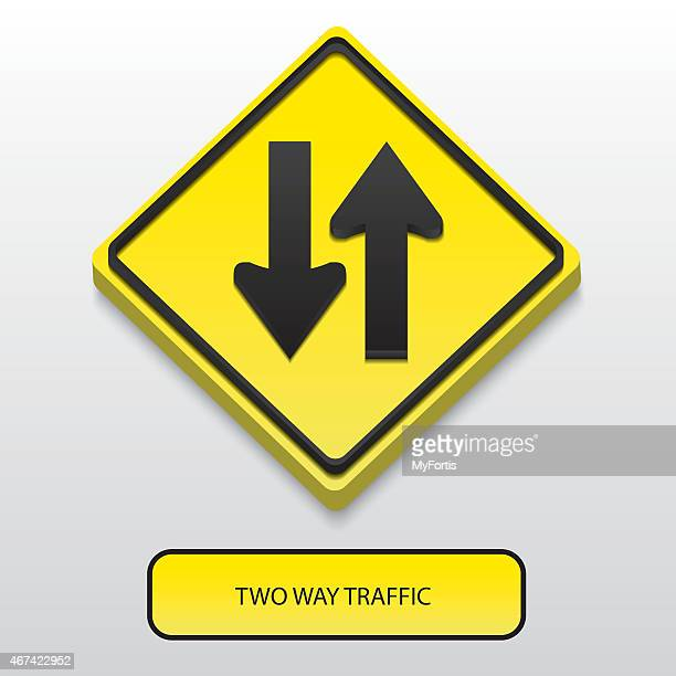 3d two way traffic sign - dividing line road marking stock illustrations, clip art, cartoons, & icons