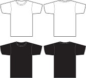 Two white and two black t-shirts