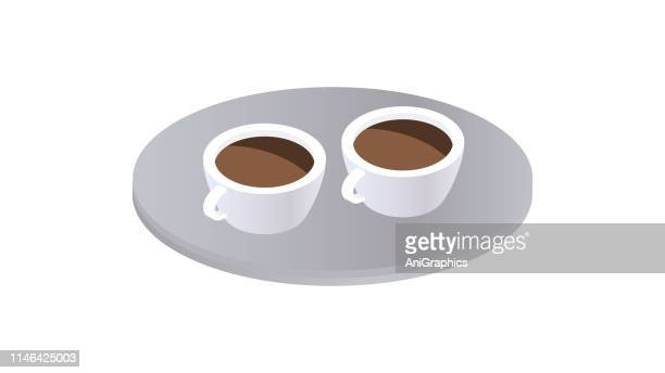 Two White Cups Of Coffee Icon