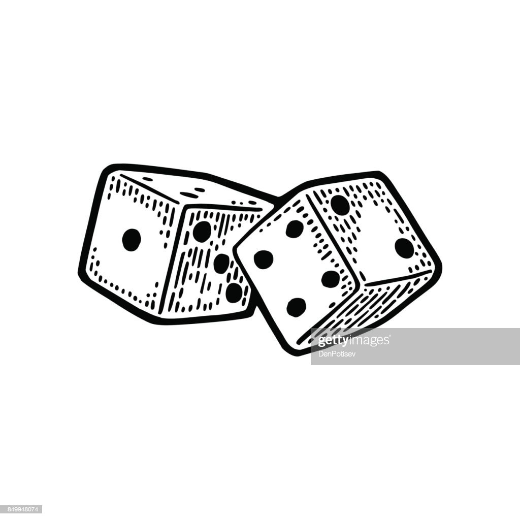 Two white dice. Vintage black vector engraving illustration
