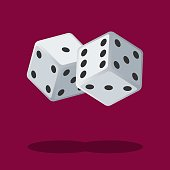 Two white dices isolated on background with shadow. Dice gambling. White cubes