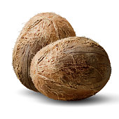 Two whole coconut nuts on a white background. 3D vector. High detailed realistic illustration
