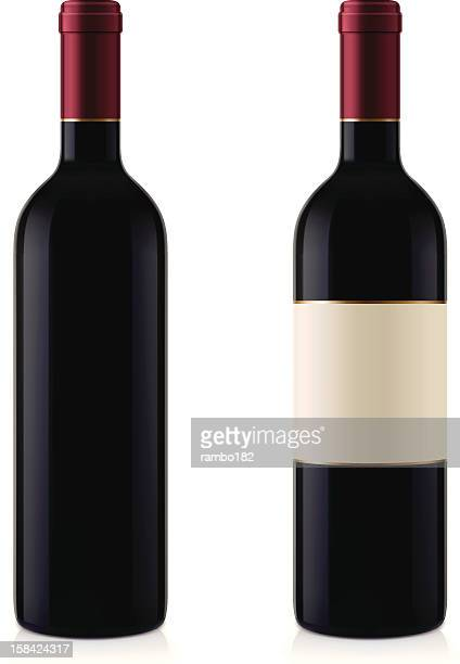 two wine bottles - red wine stock illustrations, clip art, cartoons, & icons