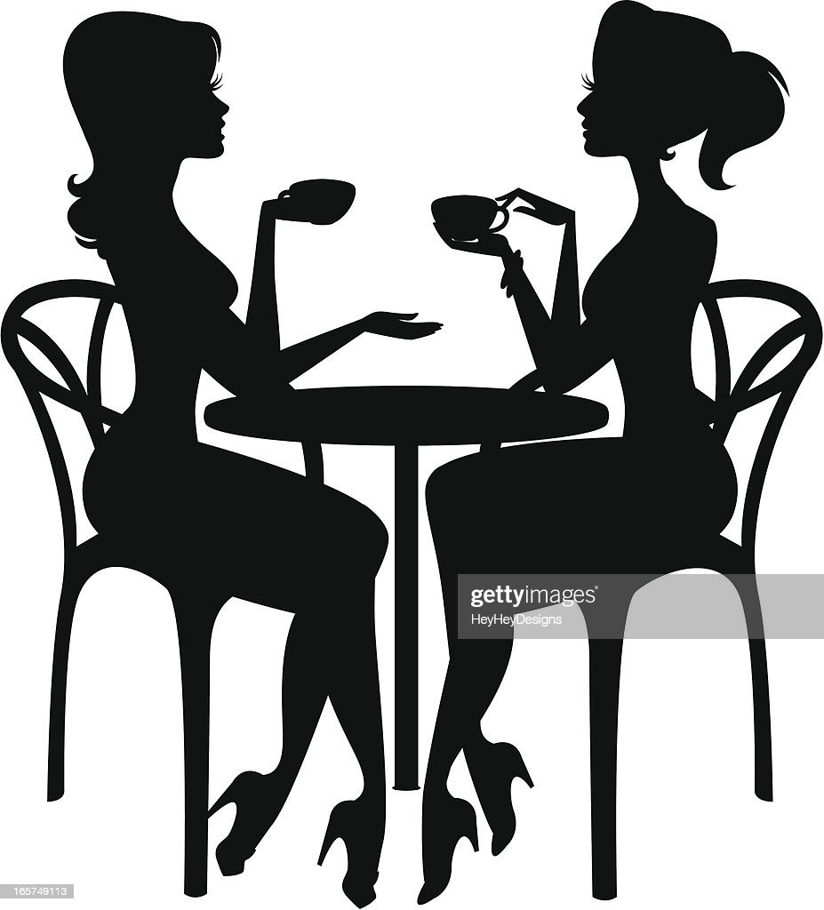 Two Women Having Coffee Vector Art | Getty Images