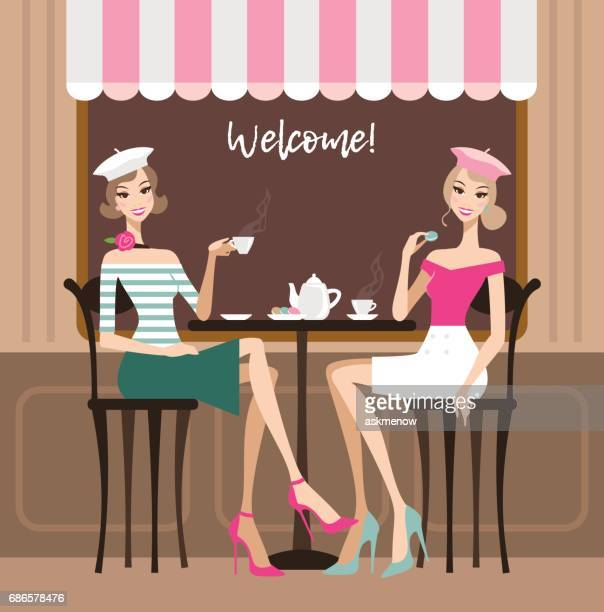 ilustrações de stock, clip art, desenhos animados e ícones de two women in a cafe - mesa cafe da manha