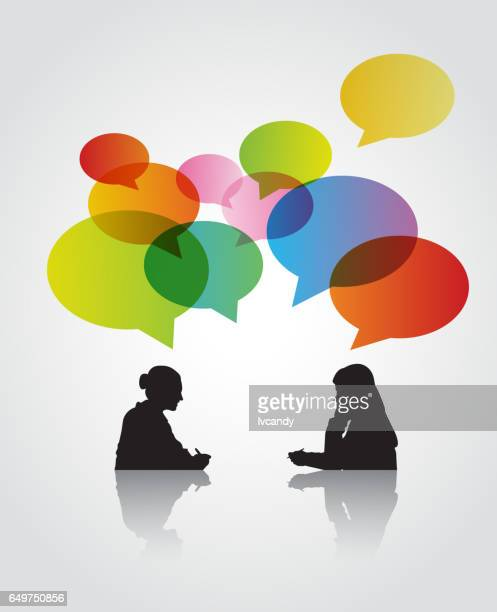 two women in the discussion - two people stock illustrations