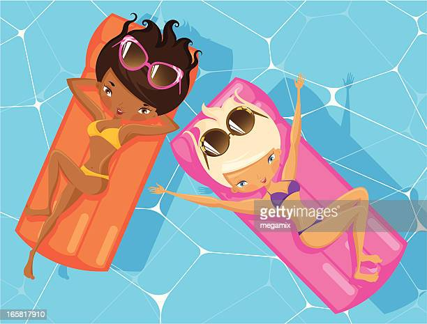 illustrations, cliparts, dessins animés et icônes de deux femmes en vacances. - matelas pneumatique