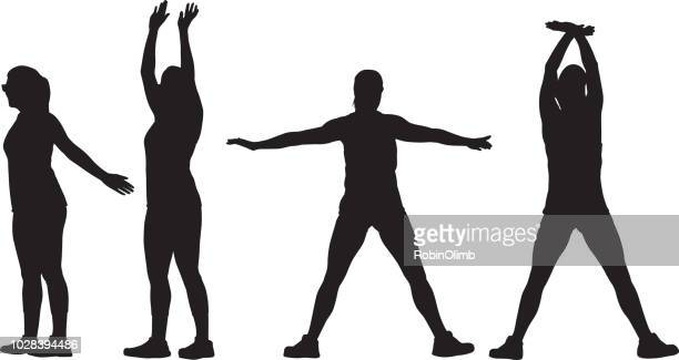 two women stretching silhouettes - stretching stock illustrations, clip art, cartoons, & icons