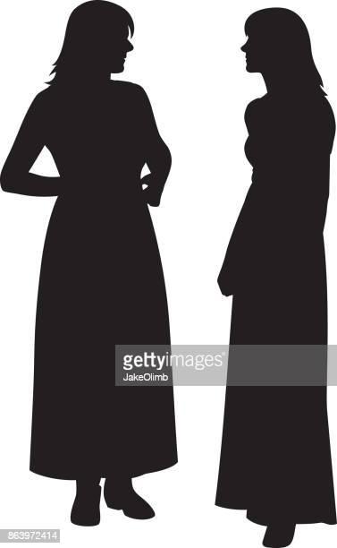 two women talking silhouette - long dress stock illustrations