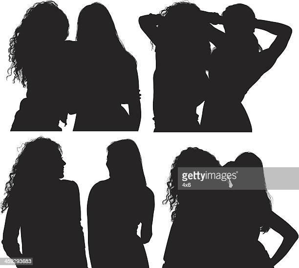 two women - girlfriend stock illustrations, clip art, cartoons, & icons