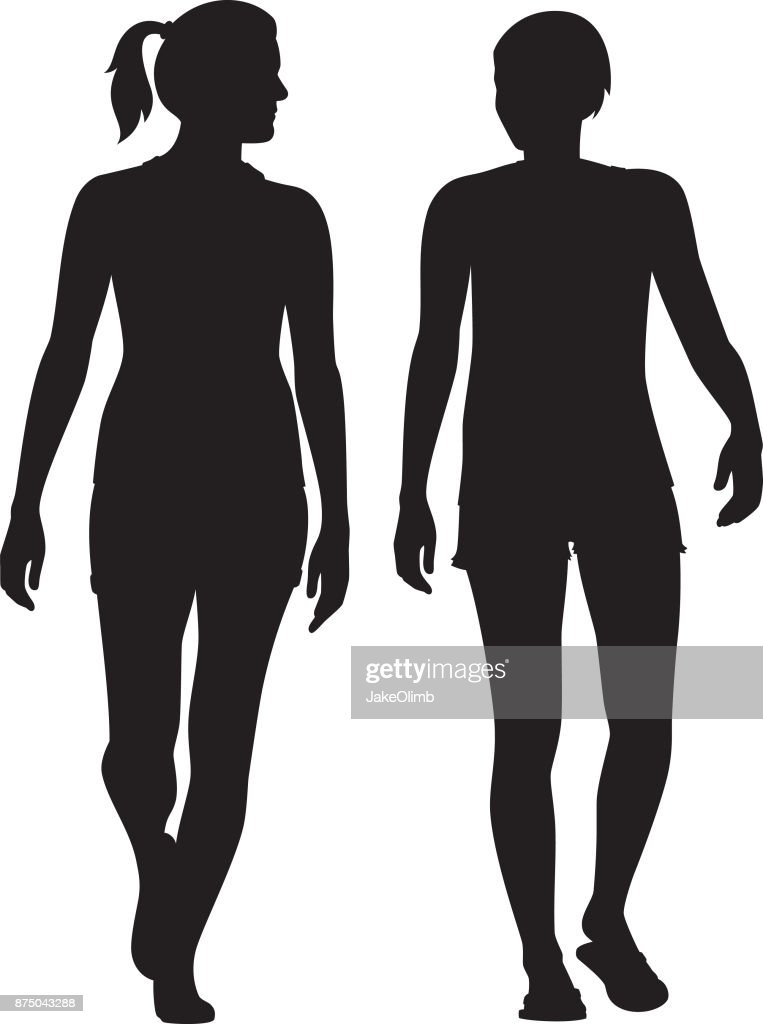 Two Women Walking and Talking Silhouettes : stock illustration