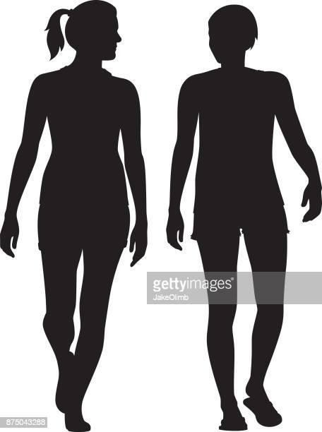 ウォーキングとシルエットを話す 2 人の女性 - ポニーテール点のイラスト素材/クリップアート素材/マンガ素材/アイコン素材