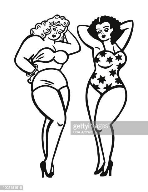 two women wearing swim suits - seductive women stock illustrations, clip art, cartoons, & icons