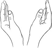 Two women's hands apart from black contour of vector illustration