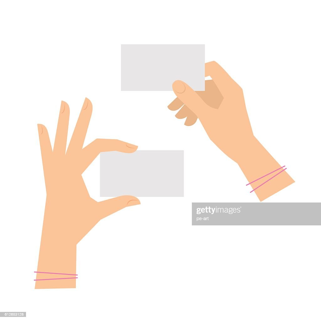 Two women's hands are holding business cards. Template flat illustration.
