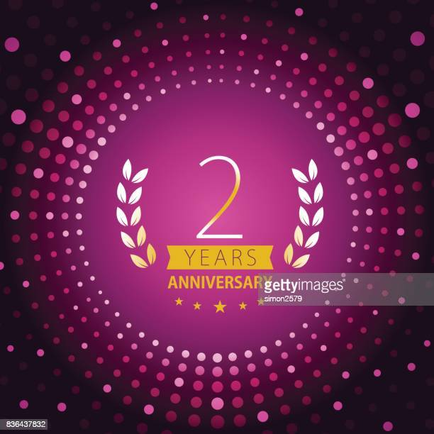 Two years anniversary icon with purple color background
