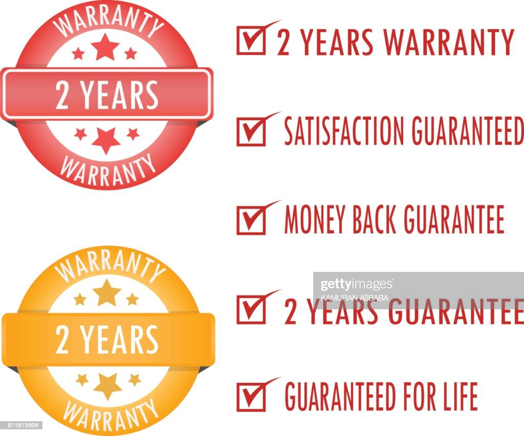 Two years warranty. stamp. sticker. seal.Two year warranty sign.