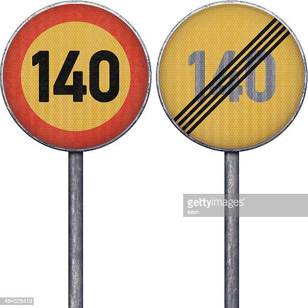 two yellow and red maximum speed limit 140 road signs - rod stock illustrations, clip art, cartoons, & icons