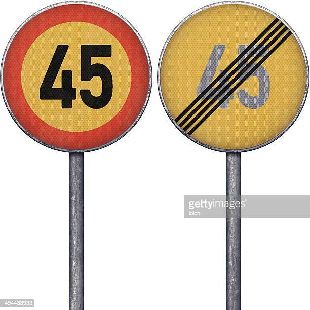 Two yellow and red maximum speed limit 45 road signs