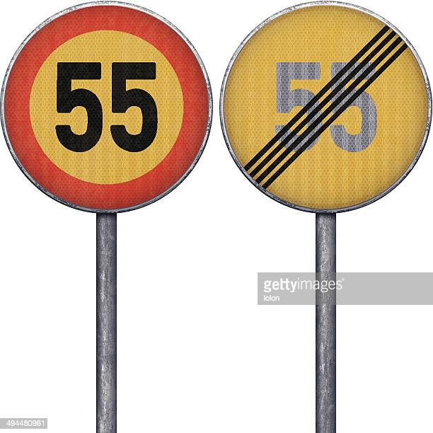 Two yellow and red maximum speed limit 55 road signs