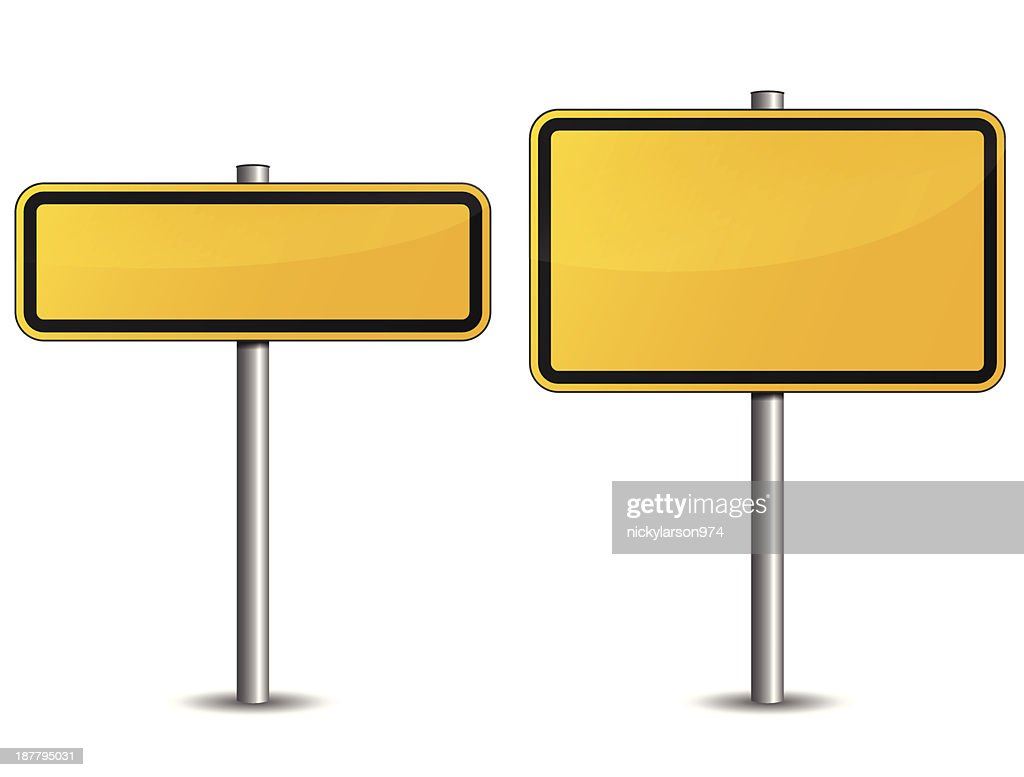 Two yellow road signs of different sizes