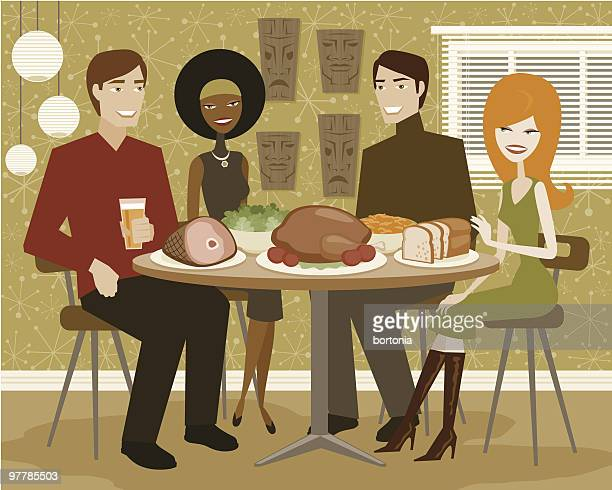 ilustraciones, imágenes clip art, dibujos animados e iconos de stock de dos parejas jóvenes con cena con turquía - mesa de comedor