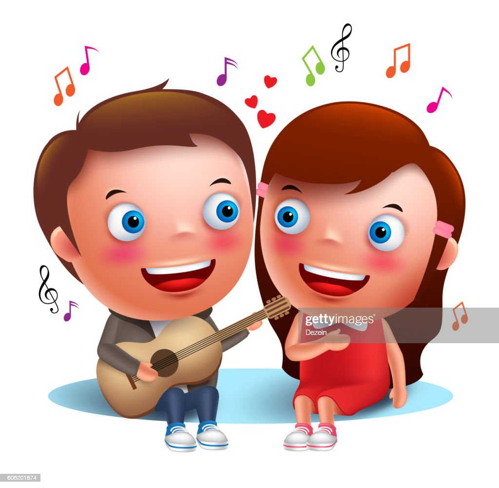 Two young kids couple happy singing serenade with guitar