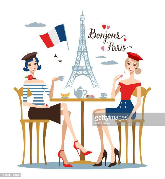 two young women in a paris cafe - female friendship stock illustrations