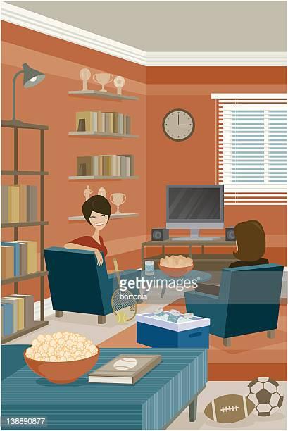 ilustrações, clipart, desenhos animados e ícones de duas jovens mulheres sentado na sala de estar com tema de esportes - somente adultos