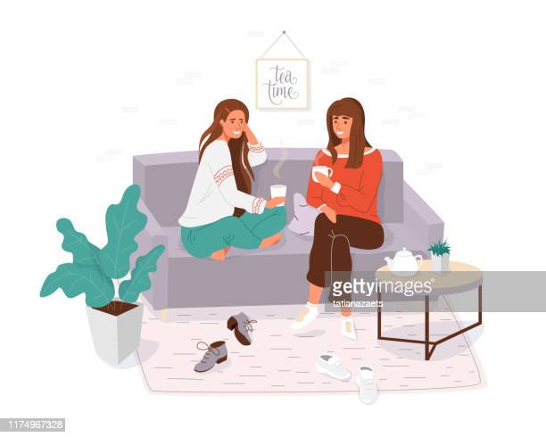Two young women spending time together. Girls cosy sitting on the couch, talking and holding cup tea, coffee. Home or cafe style modern vector illustration